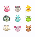 cute cartoon animal face icons set isolated vector image