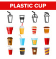 disposable plastic cup linear icons set vector image
