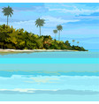 drawn background tropical sea-coast day vector image vector image