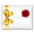 Envelope With Golden Bow And Wax Seal vector image vector image