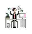 european businessman throwing money in the air vector image vector image