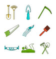 farm tool icon set color outline style vector image