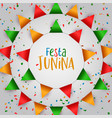 festa junina festival greeting card color flags vector image