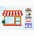 Flat icon set store front window with awning