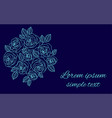 floral design with pale blue roses wreath on navy vector image vector image