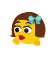 girl smile emoji vector image vector image