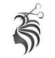 girl with hair and scissors symbol vector image vector image