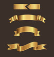 Gold ribbon banner with brown background