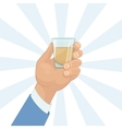 Hand holding a shot of drink vector image vector image