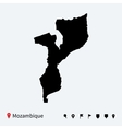 High detailed map of Mozambique with navigation vector image vector image