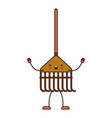 kawaii cartoon rake leaves with wooden stick in vector image
