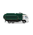 large and powerful garbage truck in dark green vector image