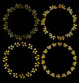 metallic gold circular frames with leaf patterns vector image