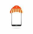 mobile shopping smartphone with modern roof vector image vector image