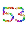 number 53 fifty three of colorful hearts on white vector image
