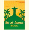 poster travel to brazil rio de janeiro skyline vector image vector image