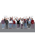 protesting people with fists raised public vector image vector image
