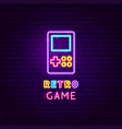 retro game neon label vector image vector image