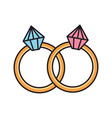 rings with diamonds icons vector image