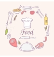 Round card with doodle food icons Hand drawn