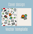 school supply elements pattern cover design vector image