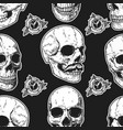 seamless pattern with skulls and roses design vector image vector image