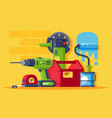 set machinery and tools all for repair vector image vector image