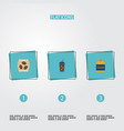 set of drink icons flat style symbols with sugar vector image