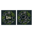 set with lettering tea vintage engraving vector image vector image