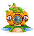 small pumpkin house vector image vector image