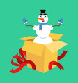 snowman from open gift box surprise christmas and vector image vector image