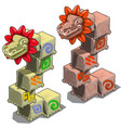 stone cubes with heads dragons vector image vector image