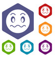 suspicious emoticon icons set vector image vector image