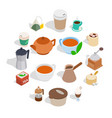 tea and coffee set isometric 3d style vector image vector image