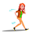 teen girl runinng away in panic isolated vector image