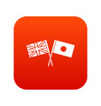 uk and japan flags crossed icon digital red vector image vector image