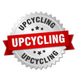 upcycling round isolated silver badge vector image vector image