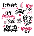 Valentine s Day lettering set Isolated vector image vector image