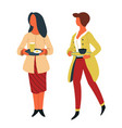women with dishes on trays canteen self-service vector image vector image