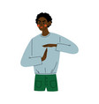 young african american man showing palm to palm vector image vector image