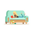 young blonde woman lying on her stomach on a light vector image vector image