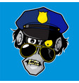 zombie head - police officer vector image vector image
