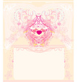greeting card with 2 sweet love birds - wedding vector image
