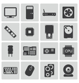 black PC components icons set vector image