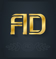 a and d - initials or golden logo ad - metallic vector image
