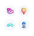 air balloon 24 hours and bicycle icons set vector image vector image
