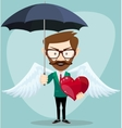 Angel Man with an umbrella Wings and Heart vector image