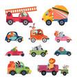 animal car drivers cartoon kids vehicle funny vector image vector image