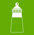baby milk bottle icon green vector image vector image