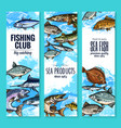 banners set of fish catch for fishing club vector image vector image
